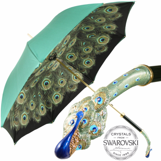 Bellezza Double Canopy Umbrella with Swarovski Crystals and Enamelled Peacock Handle by Pasotti