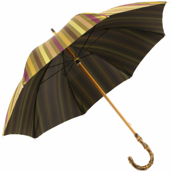 Luxury Gents Gold Multi Stripe Umbrella with Bamboo Handle by Pasotti