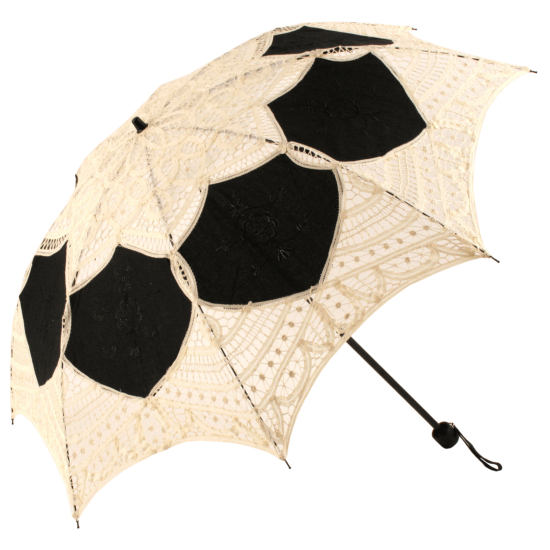 Battenberg Folding Lace Parasol - Lotte - Cream/Black