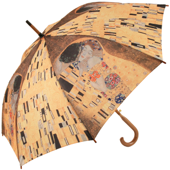 Galleria Art Print Walking Length Umbrella - Klimt 'The Kiss'