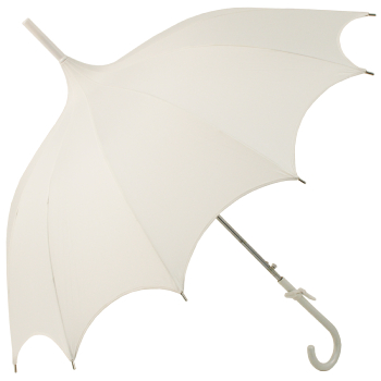 Ex Hire - Lily Scalloped Ivory Pagoda Umbrella by Chrysalin