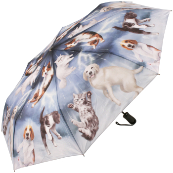 Galleria Art Print Auto Open & Close Folding Umbrella - Raining Cats & Dogs