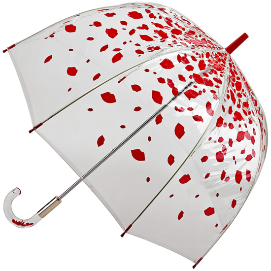 Lulu Guinness Birdcage - Raining Lips - PVC Dome Umbrella