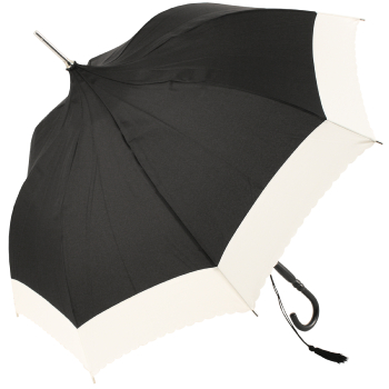 Black Pagoda Umbrella with Cream Floral Stamped Out Trim by Molly Marais