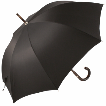 Luxury Gents Black Umbrella with One-Piece Tiger Hickory Handle & Shaft by Pasotti
