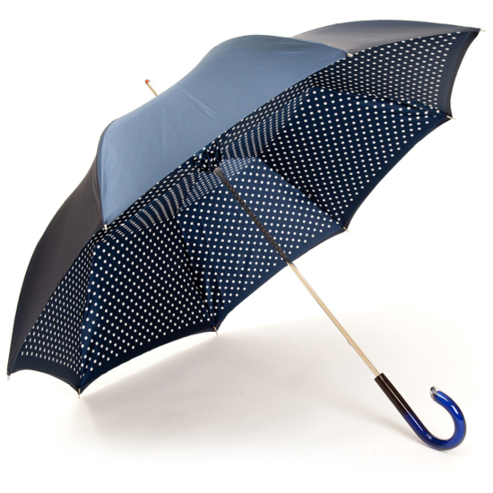 Fantasia Navy/White Polka Dots Double Canopy Luxury Umbrella by Pasotti
