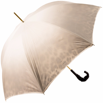 Glamour Ivory Luxury Double Canopy Umbrella with Black Leather Handle by Pasotti