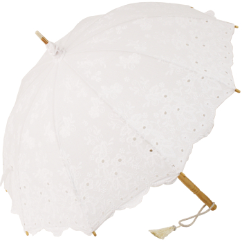 Charlotte Embroidery Anglaise Parasol - White