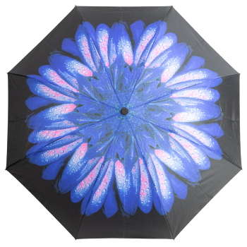Reverse Auto Open & Close Folding Umbrella - Blue Daisy