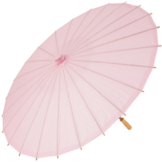 Chinese Paper and Bamboo Parasol - Pale Pink