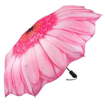 Galleria Art Print Auto Open & Close Folding Umbrella - Pink Daisy