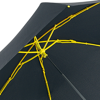 Contrast Yellow - Folding Umbrella with Coloured Ribs