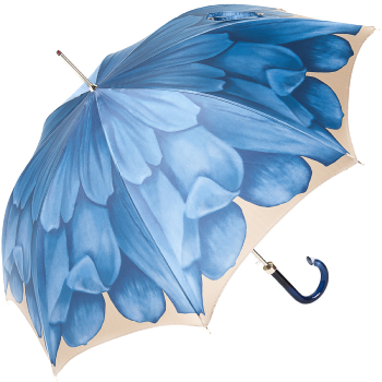 Dahlia Blue Single Canopy - Luxury Ladies Automatic Umbrella by Pasotti