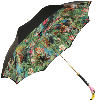 Bellezza Double Canopy Umbrella with Enamelled Flamingo Head Handle by Pasotti