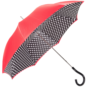 Fantasia Red/White Polka Dots Double Canopy Luxury Umbrella by Pasotti