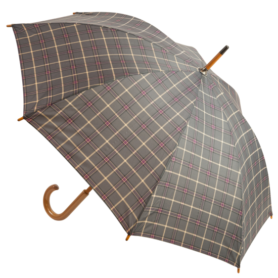 Tartan Walking Length Umbrella - Grey & Purple