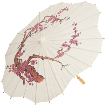 Chinese Paper and Bamboo Parasol - Cherry Blossom Scalloped
