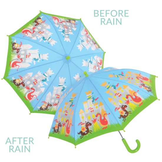 Colour Changing Childrens Umbrella - Knights & Dragons