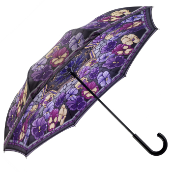 Galleria Art Print Reverse Umbrella - Stained Glass Pansies