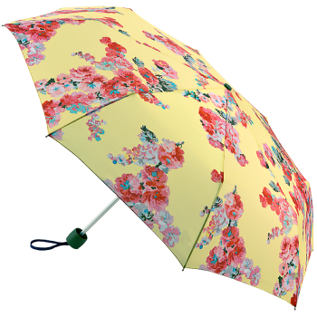 Joules Minilite Folding Umbrella - Hollyhocks Lemon Sherbert
