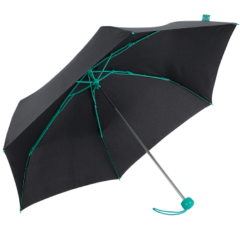 Contrast Turquoise - Folding Umbrella with Coloured Ribs
