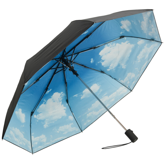 UVP 50+ Auto Open Folding Umbrella with Nature Print - Clouds
