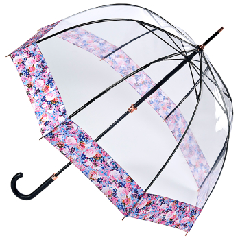 Fulton Luxe Birdcage Clear Dome Umbrella - Digital Blossom
