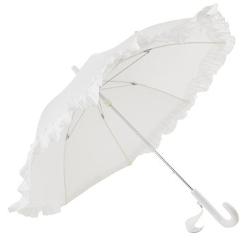 Galleria Kids White Frilly Umbrella