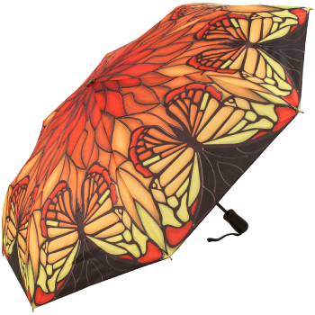 Galleria Art Print Auto Open & Close Folding Umbrella - Stained Glass Red Butterfly