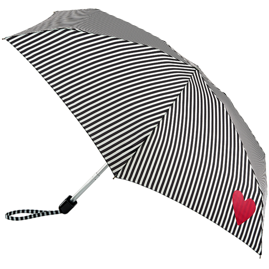 Lulu Guinness Tiny Folding Umbrella - Stripe & Heart