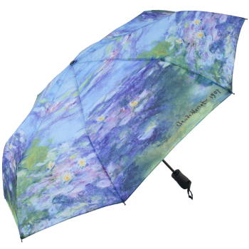 Galleria Art Print Auto Open & Close Folding Umbrella - Water Lillies by Monet