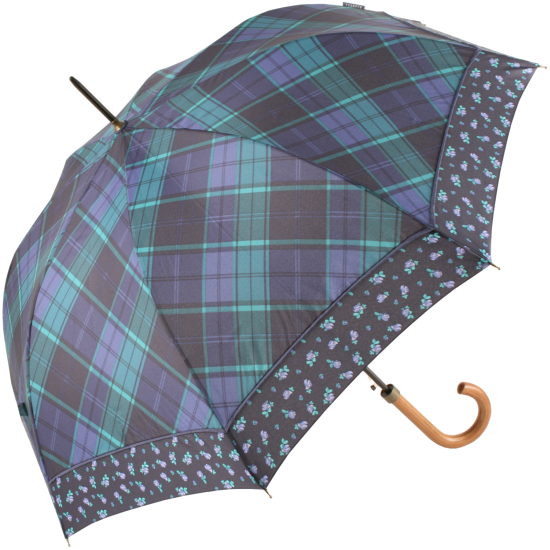 Bonnie Tartan Automatic Open Umbrella - Ditsy Floral Border