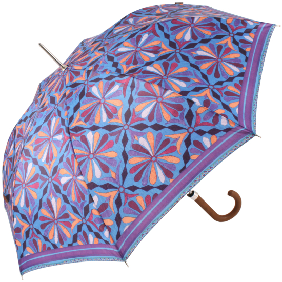 Embroidery Print Walking Length Umbrella by Bisetti - Blue