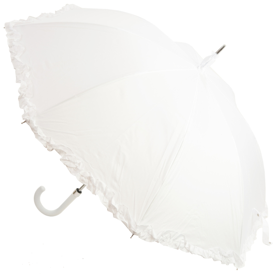 Amore Frilled Umbrella - White