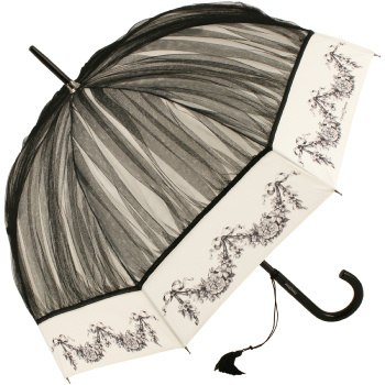 Chantal Thomass Ruched Net Umbrella - Ivory & Black