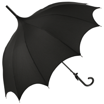 Ex Hire - Lily Scalloped Black Pagoda Umbrella by Chrysalin