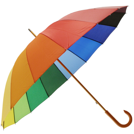 Rainbow Umbrella with Wooden Crook Handle by Falcone