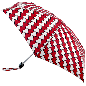 Lulu Guinness Tiny Folding Umbrella - Kissing Hearts