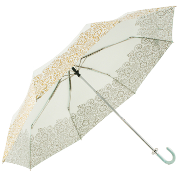 Duck Egg Folding Umbrella with Gold Lace Effect Border by Molly Marais