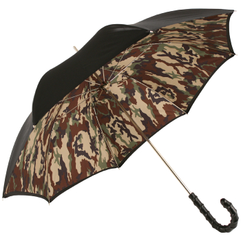 Luxury Gents Double Canopy Satin & Camo Umbrella with Ribbed Leather Handle by Pasotti