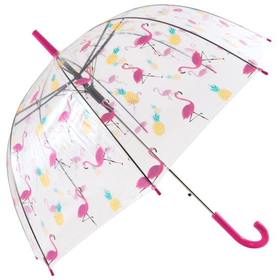Clear See-Through Dome Umbrella - Flamingos & Pineapples