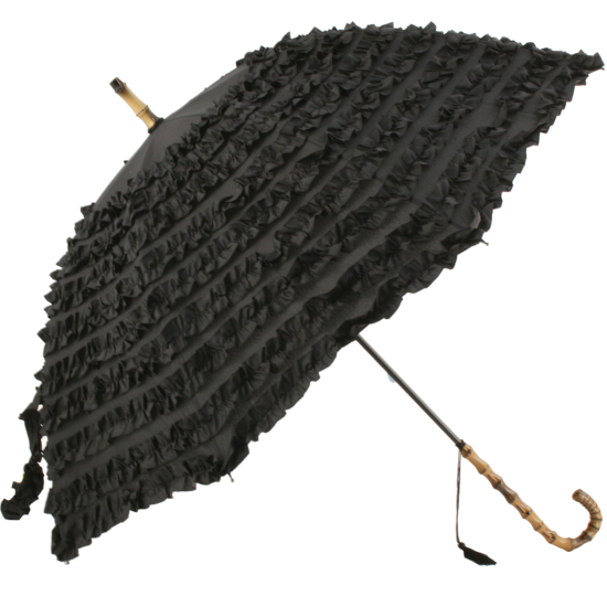 FiFi Frilly Walking Length Umbrella - Night Black