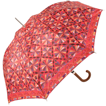 Embroidery Print Walking Length Umbrella by Bisetti - Red