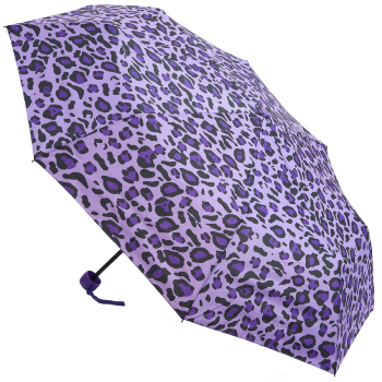 Funky Leopard Folding Umbrella - Purple