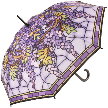 Galleria Art Print Walking Length Umbrella - Stained Glass Hanging Wisteria