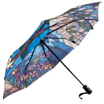 Galleria Art Print Auto Open & Close Folding Umbrella - Stained Glass Landscape