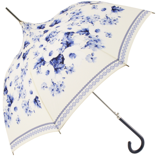 Cream Pagoda Umbrella with Blue Copenhagen Floral Design by Molly Marais