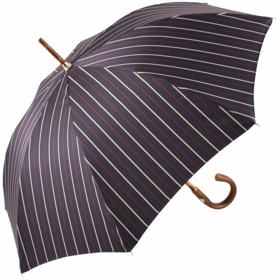 Luxury Gents Bruce Stripe Umbrella with One-Piece Chestnut Handle & Shaft by Pasotti