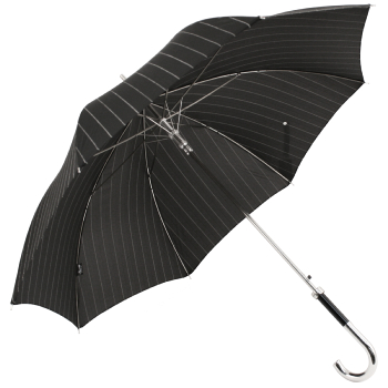 Luxury Gents Black Pinstripe Umbrella with Chrome Handle by Pasotti