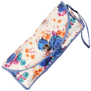 Mini Floral Folding Umbrella with Case by Cachemir - Blue